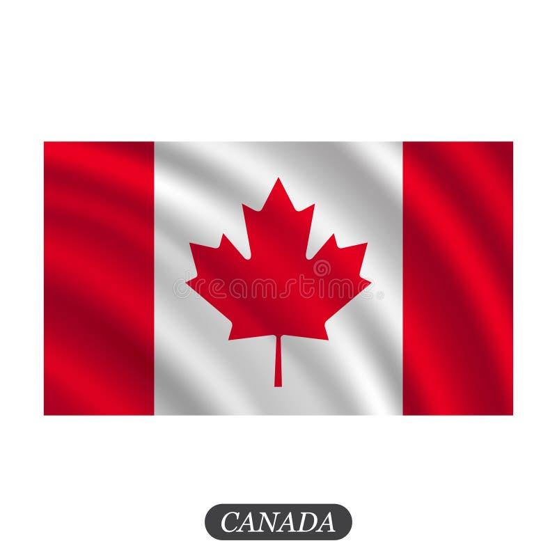 Waving Canada flag on a white background. Vector illustration stock illustration