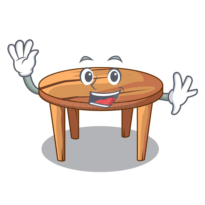 Waving cartoon round wooden table in cafe. Vector illustration royalty free illustration