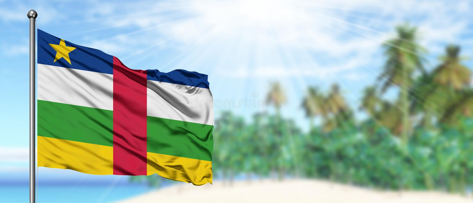 Waving Central African Republic flag in the sunny blue sky with summer beach background. Vacation theme, holiday concept royalty free stock images