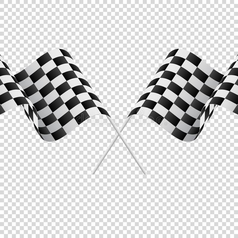 Waving checkered flags on transparent background. Racing flags. Vector illustration. Waving checkered flags on transparent background. Racing flags stock illustration