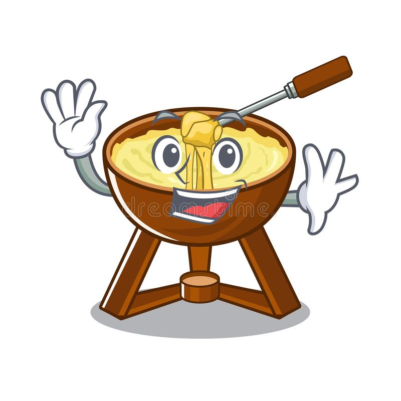 Waving cheese fondue with in mascot shape. Vector illustration vector illustration