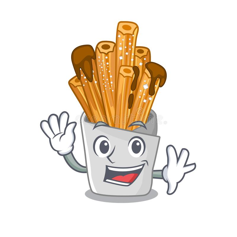 Waving churros isolated with in the cartoon. Vector illustration vector illustration