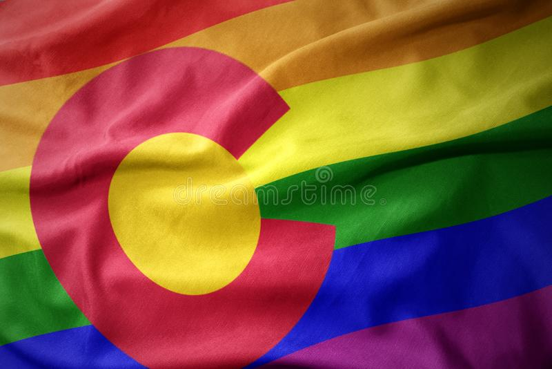 Waving texas state colorful rainbow gay pride flag banner Empty