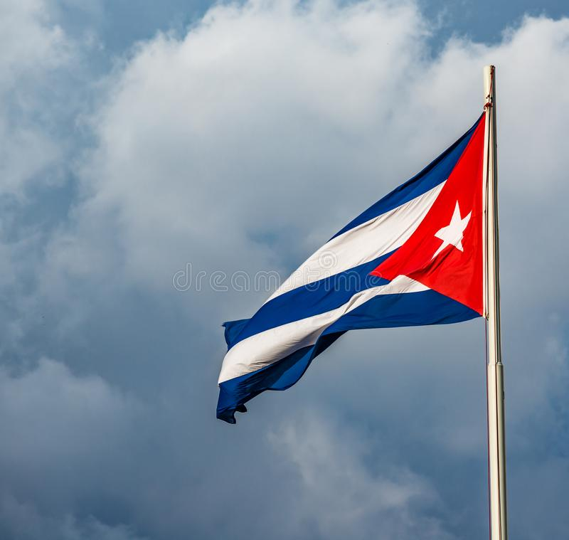 Waving colorful Cuban Flag stock photography