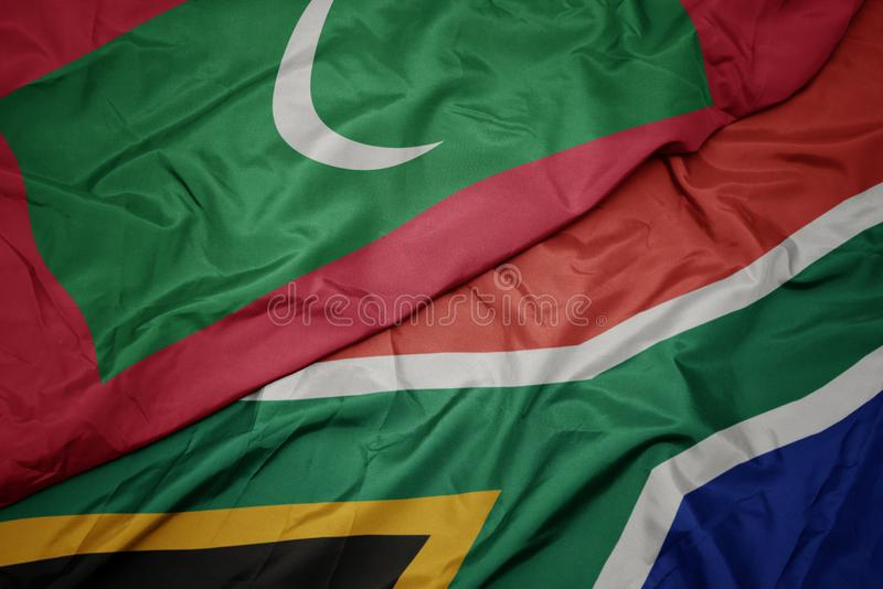Waving colorful flag of south africa and national flag of maldives. Macro stock photography