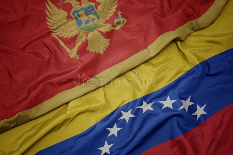 Waving colorful flag of venezuela and national flag of montenegro. Macro stock images