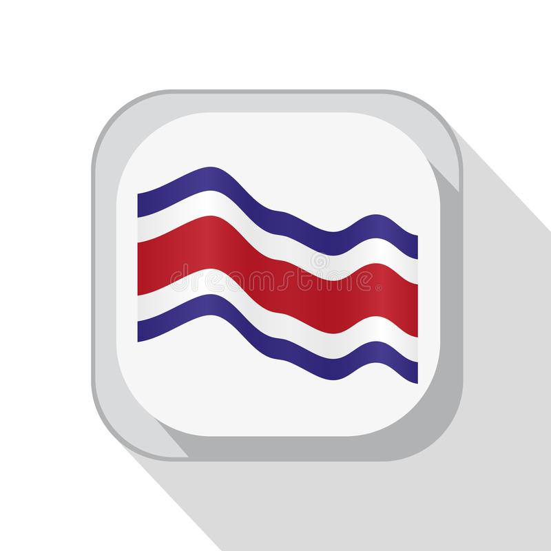 Waving Costa Rica flag on the button. Vector illustration. royalty free illustration