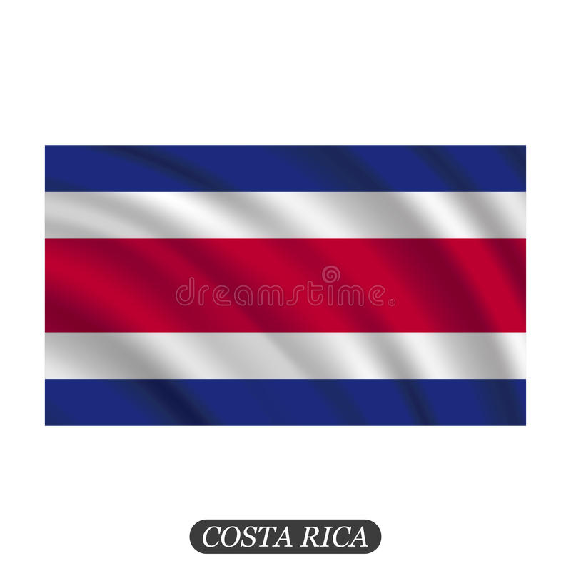 Waving Costa Rica flag on a white background. Vector illustration royalty free illustration