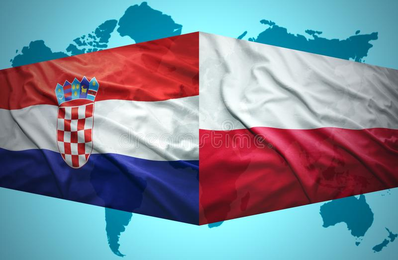 Waving Croatian and Polish flags. Of the political map of the world stock illustration