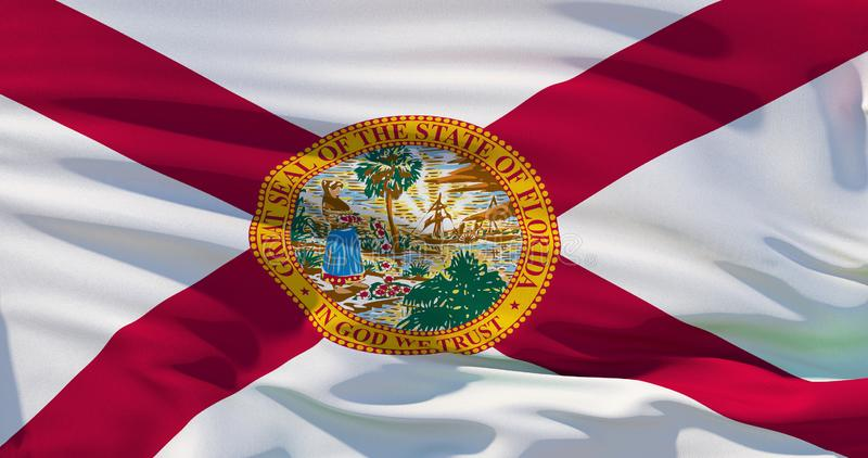 Waving detailed national state flag of Florida, US, 3d illustration.  royalty free illustration