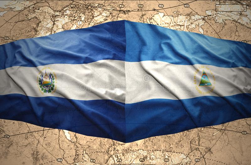 El Salvador and Nicaragua. Waving El Salvador and Nicaraguan flags on the of the political map of the world stock illustration