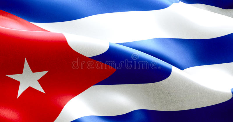 Waving fabric texture of the flag of cuba, real texture color red blue and white of cuban flag royalty free stock photography