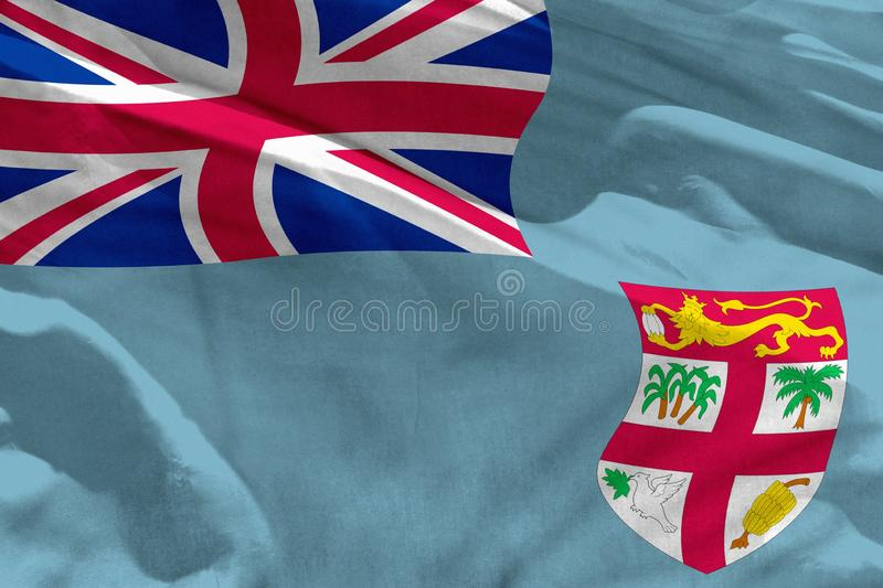 Waving Fiji Flag For Using As Texture Or Background The