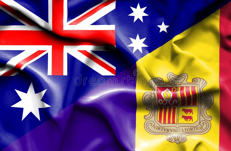 Waving flag of Andorra and Australia stock illustration
