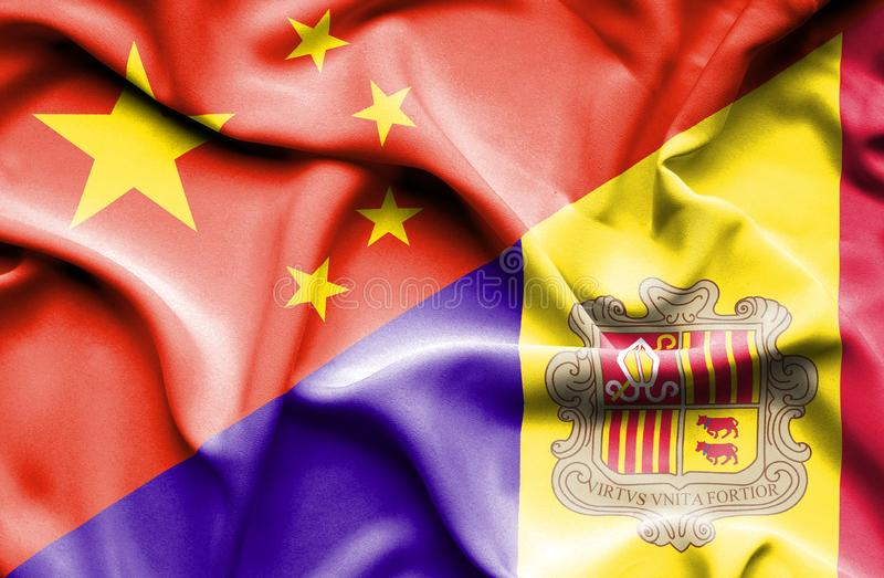 Waving flag of Andorra and China vector illustration