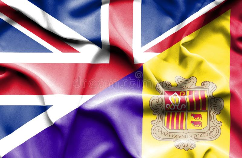 Waving flag of Andorra and Great Britain. Waving flag of Andorra and stock illustration