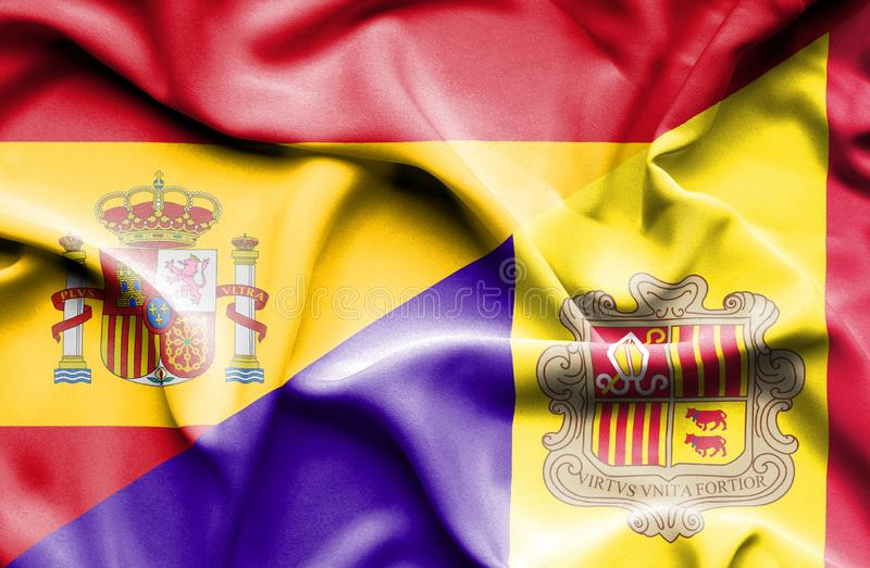 Waving flag of Andorra and Spain royalty free illustration
