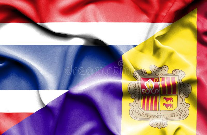 Waving flag of Andorra and Thailand stock illustration