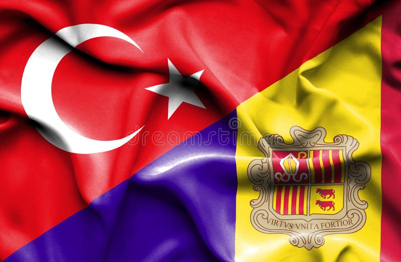 Waving flag of Andorra and Turkey. Waving flag of Andorra and stock illustration
