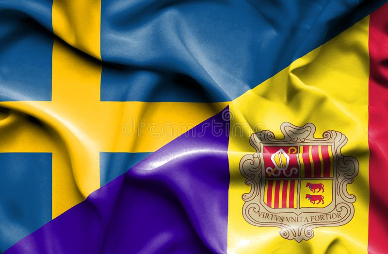 Waving flag of Andorra and Sweden. Waving flag of Andorra and royalty free illustration