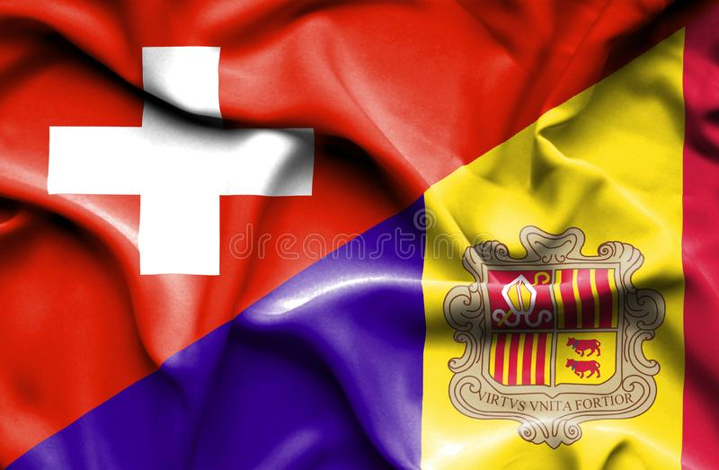 Waving flag of Andorra and Switzerland. Waving flag of Andorra and vector illustration