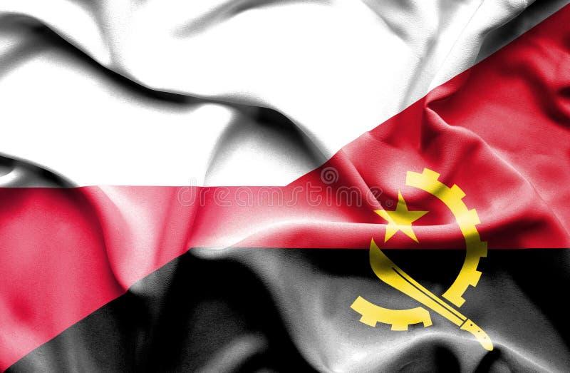 Waving flag of Angola and Poland vector illustration