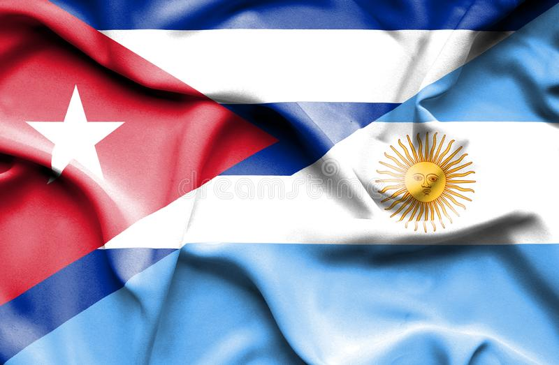 Waving flag of Argentina and Cuba stock illustration