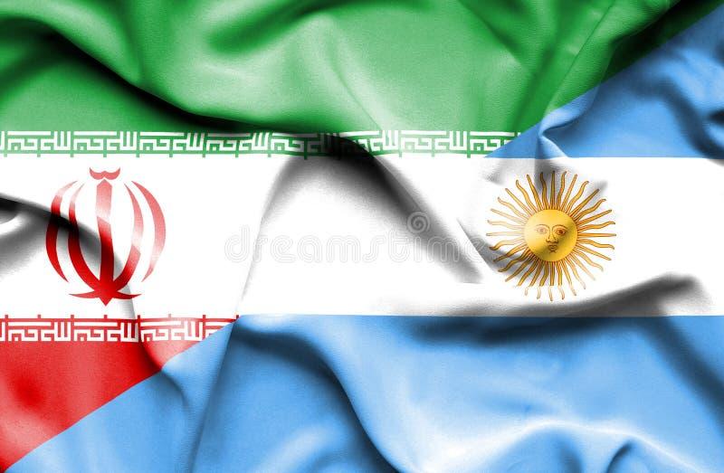 Waving flag of Argentina and Iran vector illustration