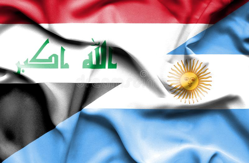 Waving flag of Argentina and Iraq royalty free illustration
