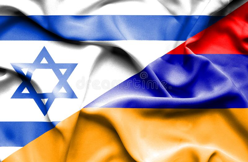 Waving flag of Armenia and Israel vector illustration