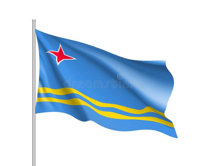 Waving flag of Aruba island in Caribbean sea. Illustration of Caribbean country flag on flagpole. Vector 3d icon isolated on white background stock illustration