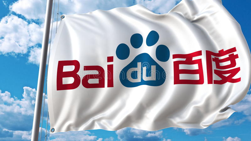 Waving flag with Baidu logo against sky and clouds. Editorial 3D rendering royalty free illustration