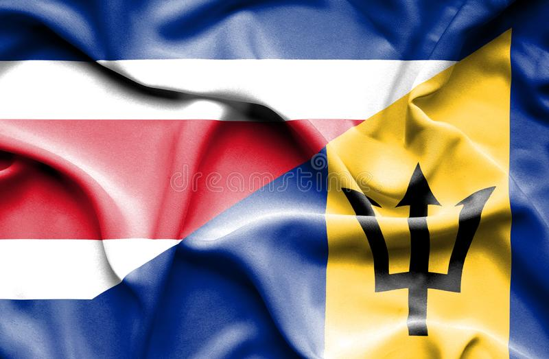 Waving flag of Barbados and Costa Rica royalty free illustration