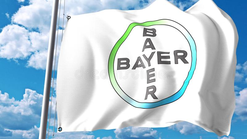 Waving flag with Bayer AG logo against clouds and sky. Editorial 3D rendering stock illustration