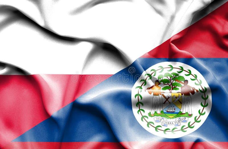 Waving flag of Belize and Poland royalty free illustration