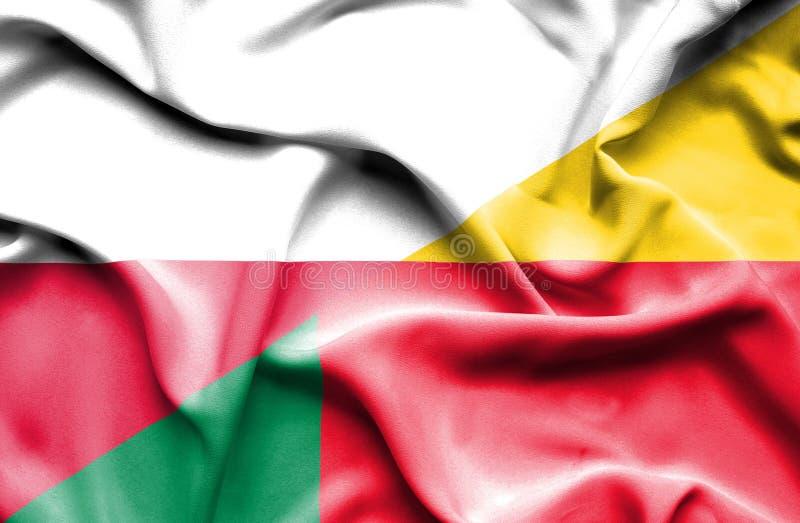 Waving flag of Benin and Poland royalty free illustration