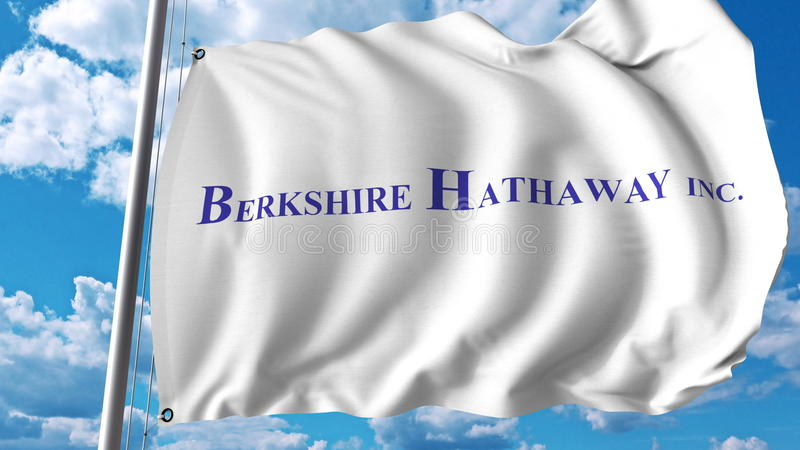 Waving flag with Berkshire Hathaway logo. Editoial 3D rendering vector illustration