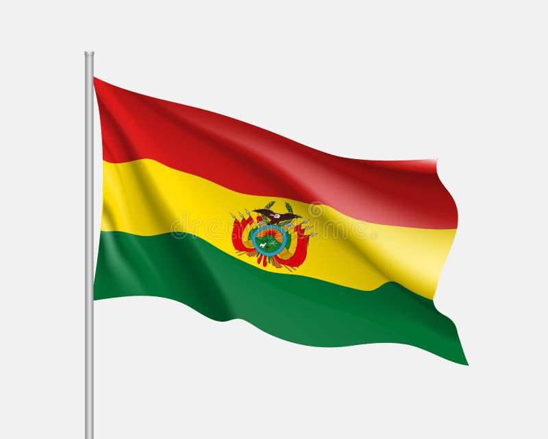 Waving flag of Bolivia royalty free illustration