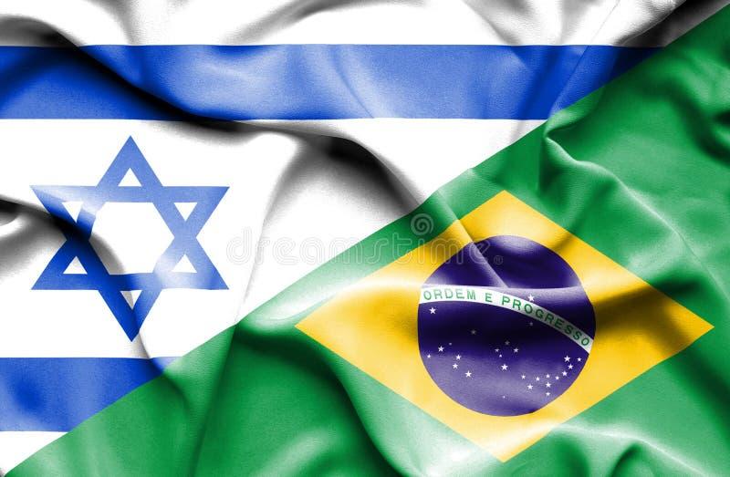 Waving flag of Brazil and Israel vector illustration