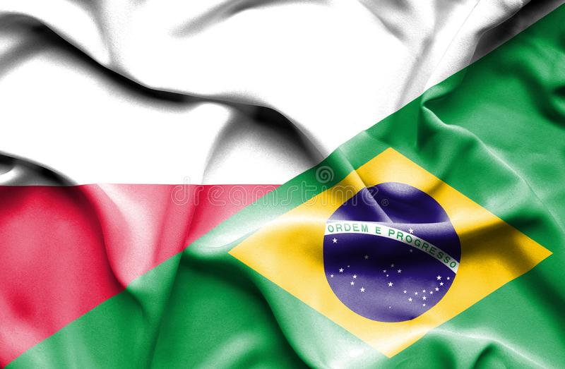 Waving flag of Brazil and Poland royalty free illustration