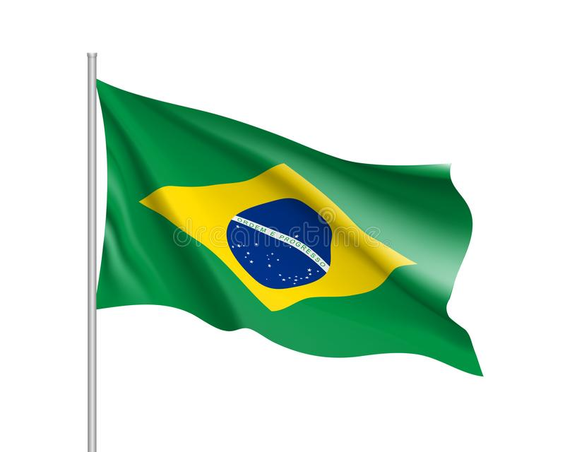 Waving flag of Brazil royalty free illustration