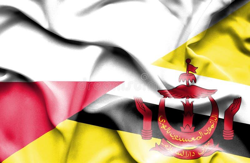 Waving flag of Brunei and Poland stock illustration