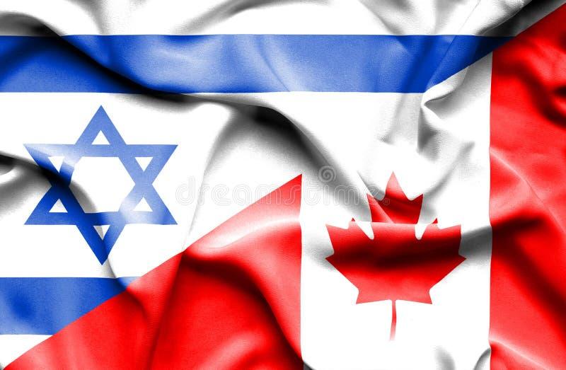 Waving flag of Canada and Israel vector illustration