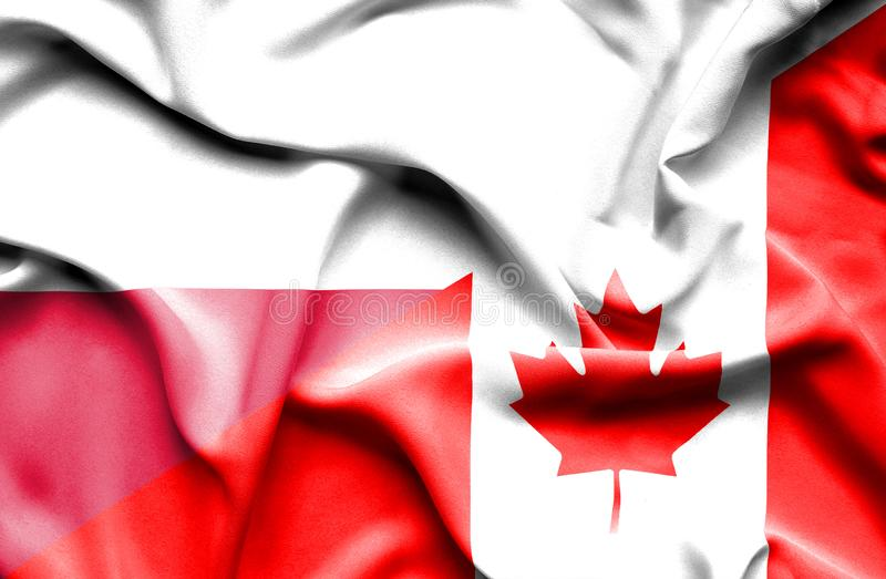 Waving flag of Canada and Poland stock illustration
