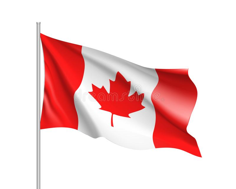 Waving flag of Canada royalty free illustration
