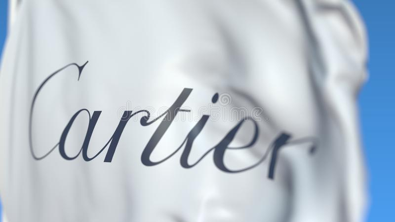 Waving flag with Cartier logo, close-up. Editorial 3D rendering vector illustration