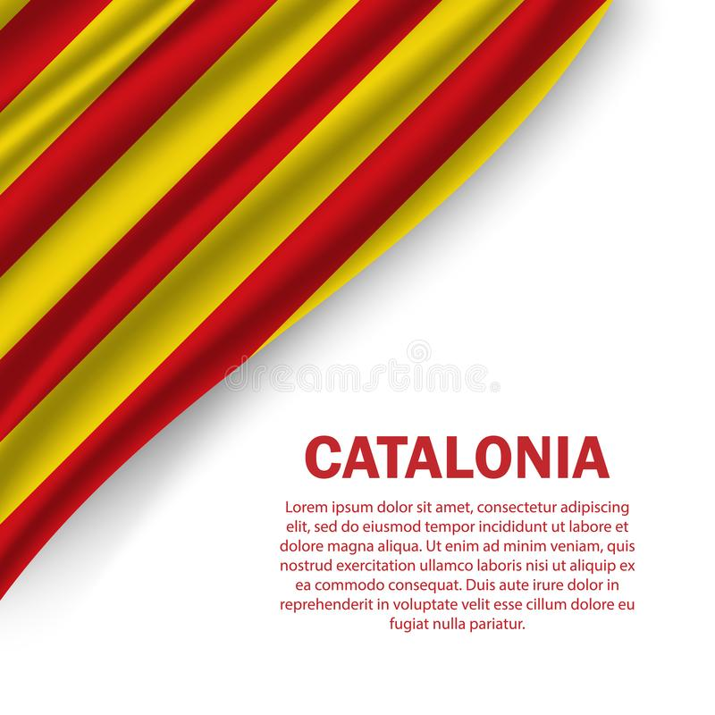 waving flag of Catalonia on white background royalty free stock images
