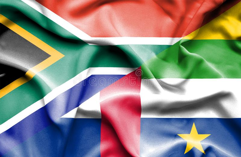 Waving flag of Central African Republic and South Africa stock illustration