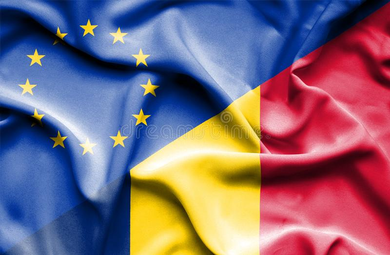 Waving flag of Chad and EU. Waving flag of Chad and stock photography