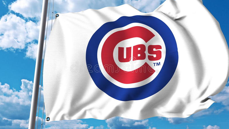Waving flag with Chicago Cubs professional team logo. Editorial 3D rendering stock illustration
